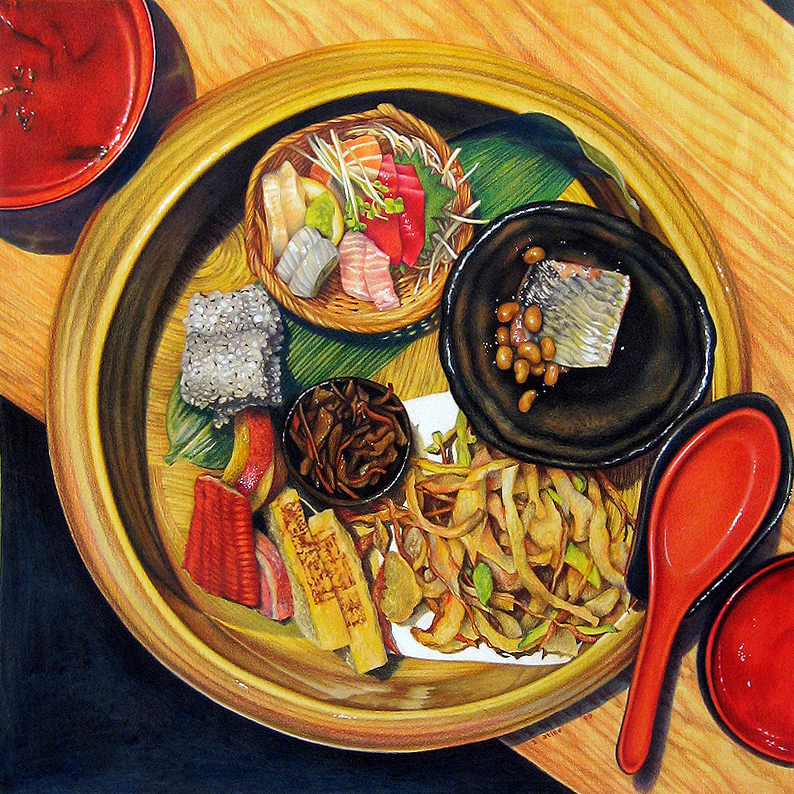 "Lunch at Sakagura. Acrylic and prismacolor pencil on paper, 22 x 22"" (26 x 26"" framed), by Sarah Atlee."