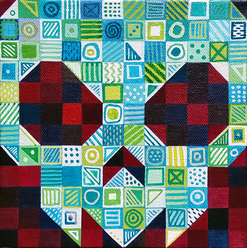 "Bingo and Yahtzee: Bingo, acrylic on canvas, 6x6"", 2014 by Sarah Atlee."