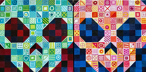 "Bingo and Yahtzee, acrylic on canvas, 6x6"" each, 2014 by Sarah Atlee."
