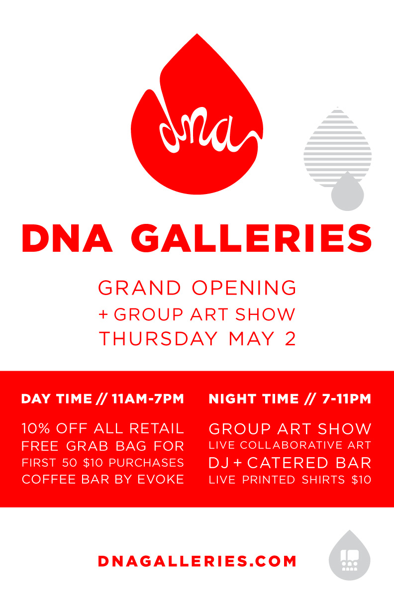 DNA Galleries grand reopening flyer