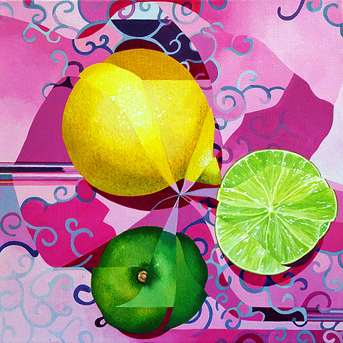 Lemon/Lime. Acrylic on canvas, 12x12 inches, 2016 by Sarah Atlee