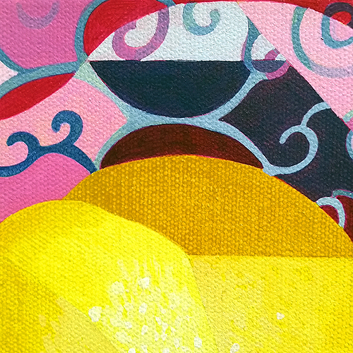 Lemon/Lime (Detail view 1). Acrylic on canvas, 12x12 inches, 201