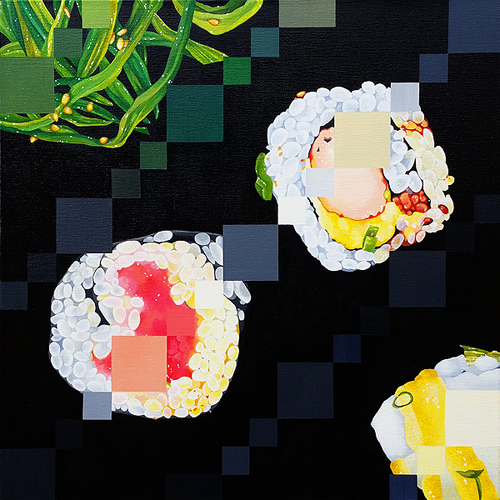 Sushi Sampler. Acrylic on canvas, 24 x 24 inches, 2016 by Sarah