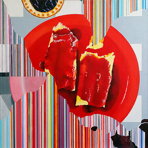 Turn Left for Tamales. Acrylic on canvas, 20 x 20 inches, 2016 by Sarah Atlee. Learn more at www.sarahatlee.com. Part of the Glitch Still Life series created for exhibition at Cerulean Gallery, Amarillo, Texas.