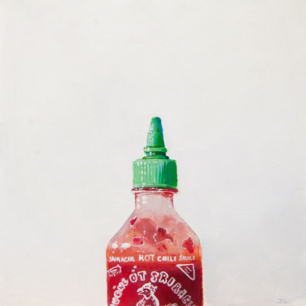 Sriracha. Acrylic on panel, 6 x 6 inches, 2015 by James Zamora