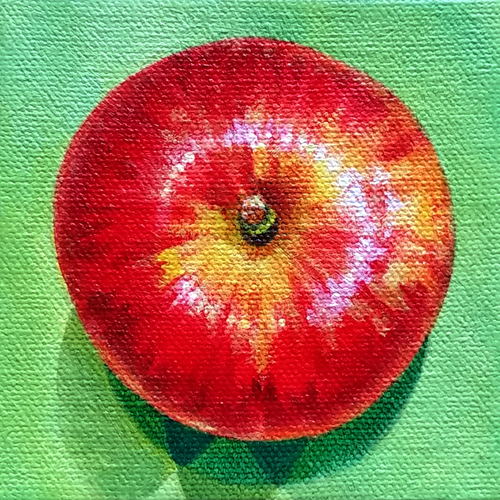 "Apple, acrylic on canvas, 4x4"" by Sarah Atlee. Private commission."