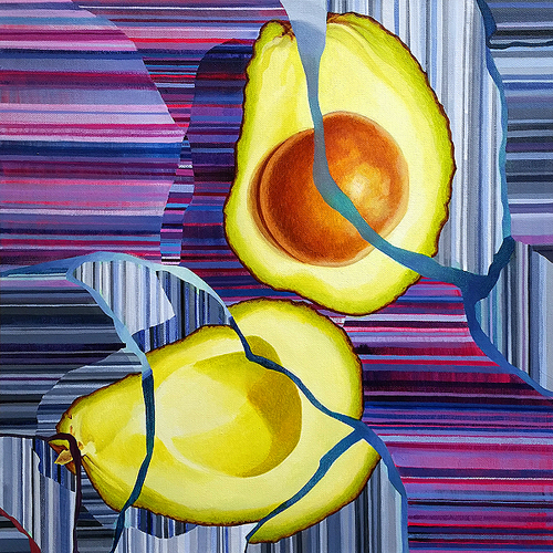 Avocado: Cracked. Acrylic on canvas, 18 x 18 inches, 2016 by Sar