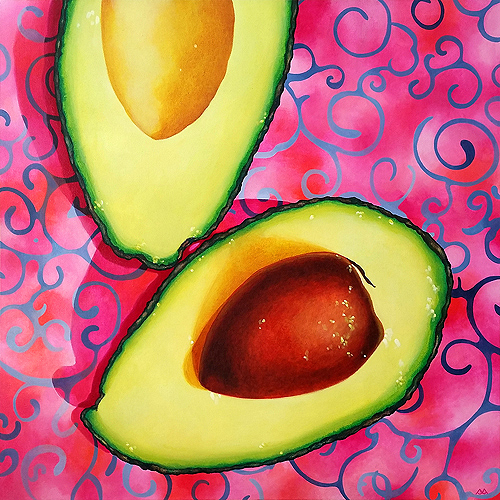 Avocado: Shades of Firefly, acrylic on canvas, 24x24 inches, 201
