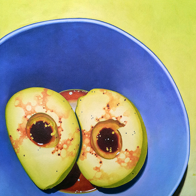 Avocados, acrylic on unstretched canvas, 24x24 inches by Sarah Atlee