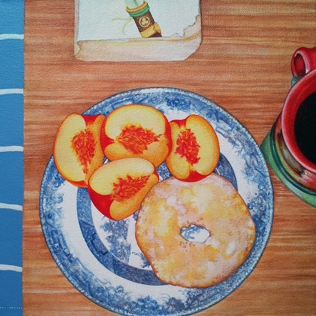 Breakfast: Peaches, Coffee, Shogun. Acrylic on canvas, 12 x 12 inches by Sarah Atlee.