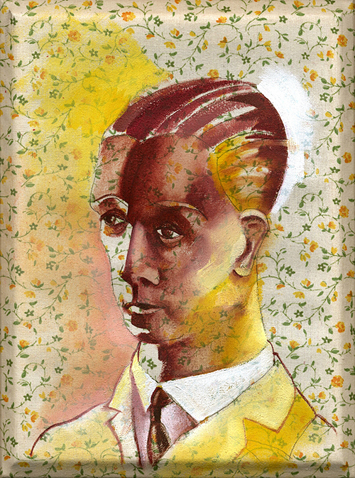 Brideshead Revisited, Revisited. Oil on found fabric, 2005 by Sarah Atlee.