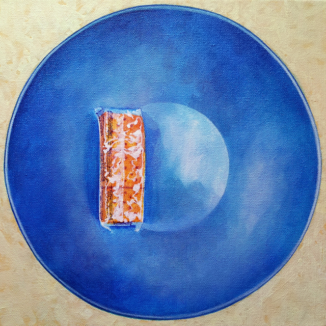 Crackers and Blue Bowl. Acrylic on canvas, 12 x 12 inches, by Sarah Atlee