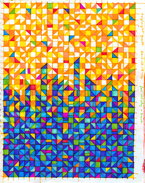 Sketchbook 2012: Day/Night Quilt, ink on paper, 2012 by Sarah At