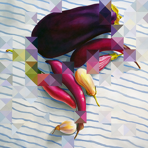 Eggplants: Averaged. Acyrlic on canvas, 36 x 36 inches, 2016 by