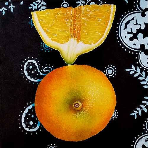 Lemon Imbalance. Acrylic on canvas, 18x18 inches, 2015 by Sarah Atlee