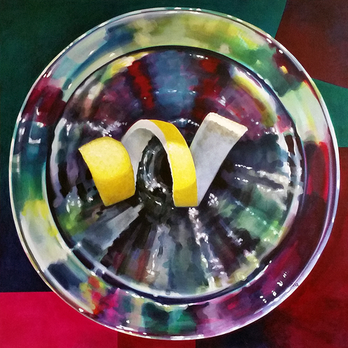 Martini Twist, Indulge, Golden. Acrylic on canvas, 36 x 36 inches, 2014 by Sarah Atlee.