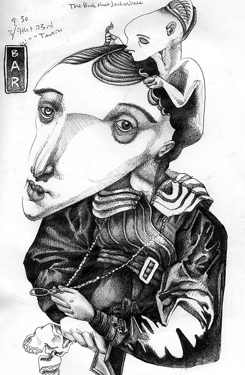 Mask Lady 2. Ink on paper (sketchbook page), 2005-06 by Sarah Atlee.