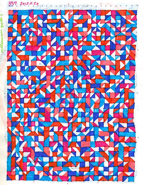 Sketchbook 2012: Millennium Quilt I. ink on paper, 2012 by Sarah