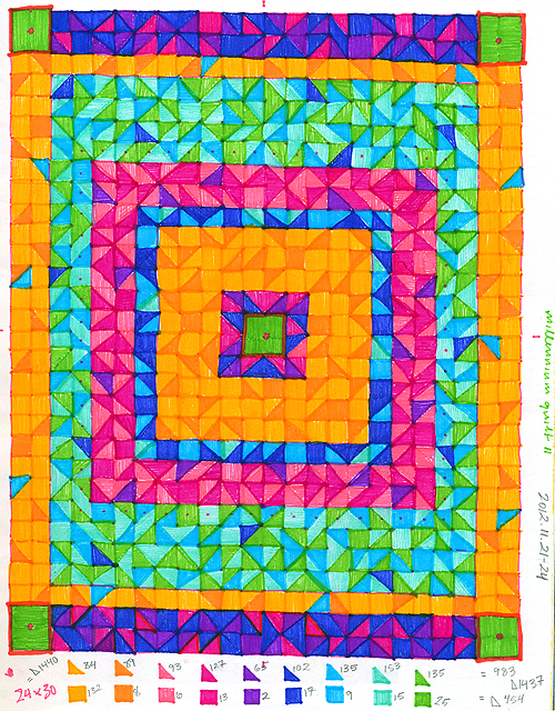 Sketchbook 2012: Millennium Quilt II. ink on paper, 2012 by Sara