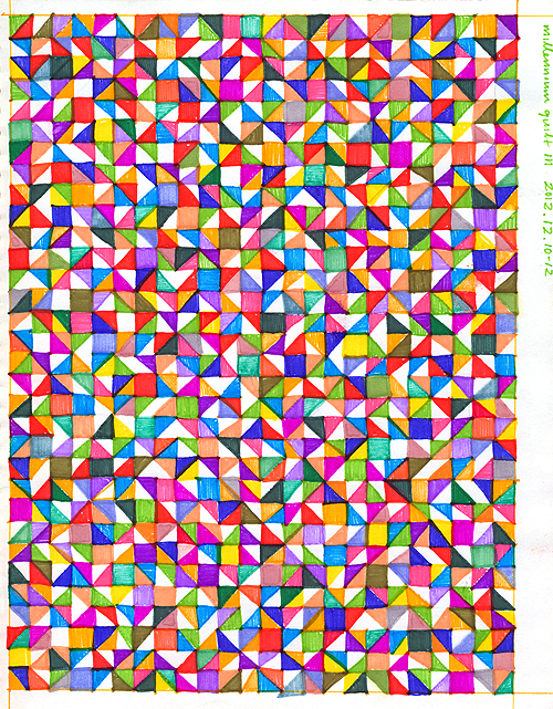 Sketchbook 2012: Millennium Quilt III, ink on paper, 2012 by Sar