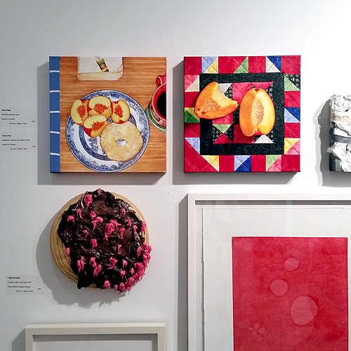 Two still life paintings by Sarah Atlee at the 2015 Dallas Art Fair.