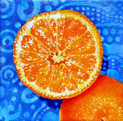 Orange, acrylic on canvas, 4 x 4 inches, 2014 by Sarah Atlee. Private commission.