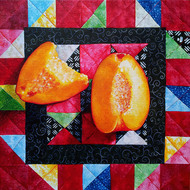 Peaches & Quilt. Acrylic on canvas, 12 x 12 inches by Sarah Atlee