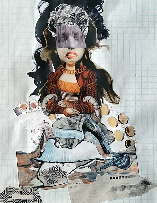 Eggs (I Only Gave You Some), collage sketch, 2014 by Sarah Atlee