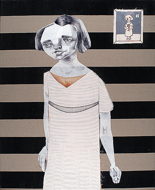Stripey Lady. Mixed media on found fabric, 2005 by Sarah Atlee.
