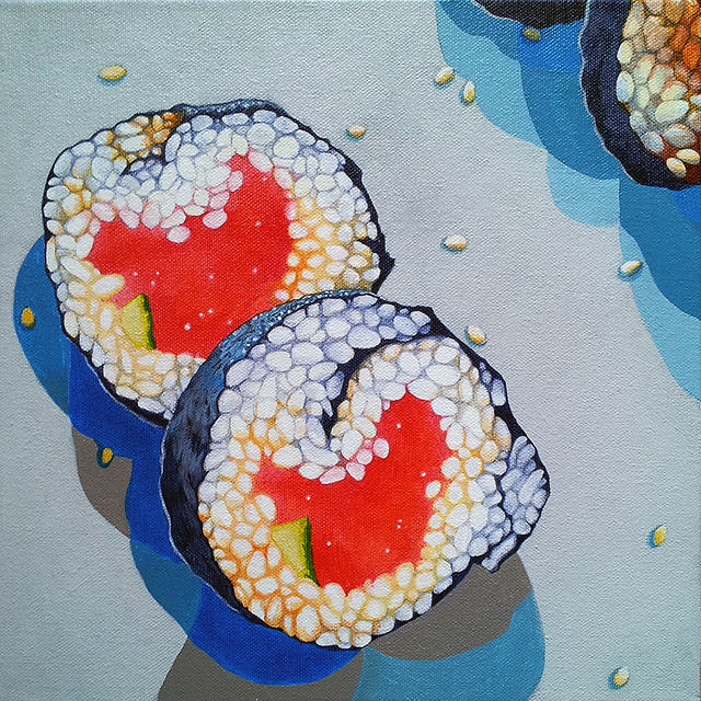 Sushi White Plate, acrylic on canvas, 12 x 12 inches, 2012 by Sarah Atlee. Private collection.