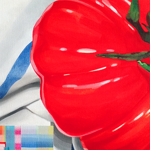 Heirloom Tomato: Rarity, Please Re-Seed. Detail view. Acrylic on