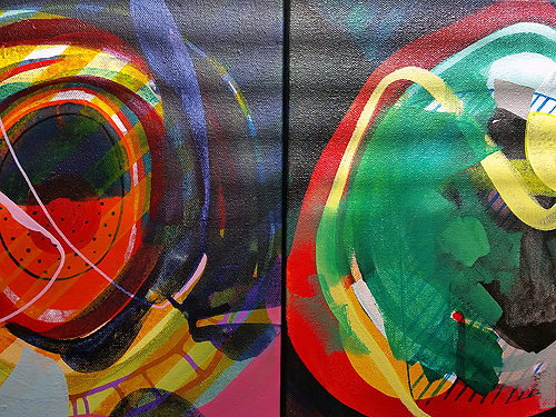 Two works in progress, detail view