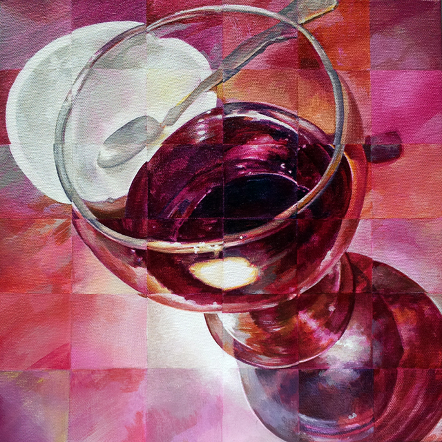 Wineglass. Acrylic on canvas, 12 x 12 inches by Sarah Atlee.