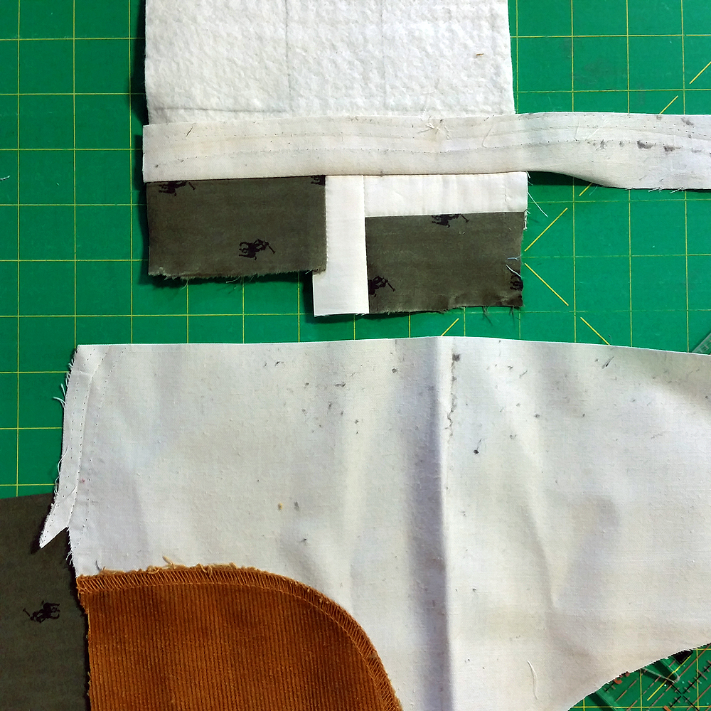 Quilt block in progress: found corduroy pocket lining