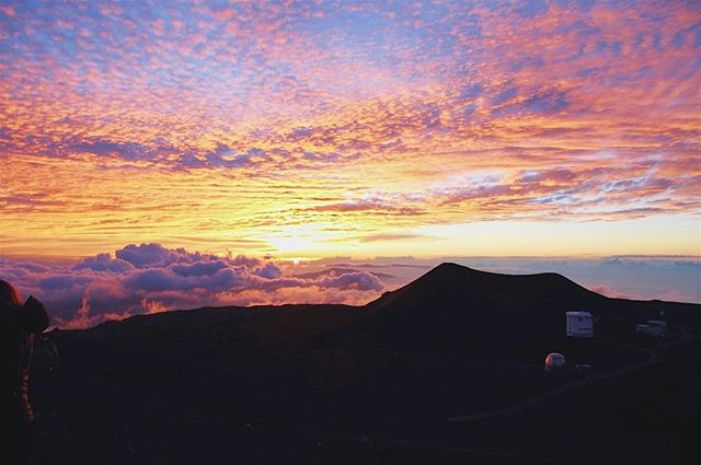 Best sunset you've ever seen... aaaand go!?☀️ Hands down this is the most stunning sunset and landscape we've ever experienced. #MaunaKea is the highest dormant volcano in Hawaii...and if you're able to drive to the top (13,000 feet above sea level), you are able to view this incredible sunset above the clouds. Fun fact: there are no pictures of us on the mountain because it was absolutely freezing, i.e., 30 degrees in Hawaii weather. We even bought sweatpants at Walmart before heading up 😂😂