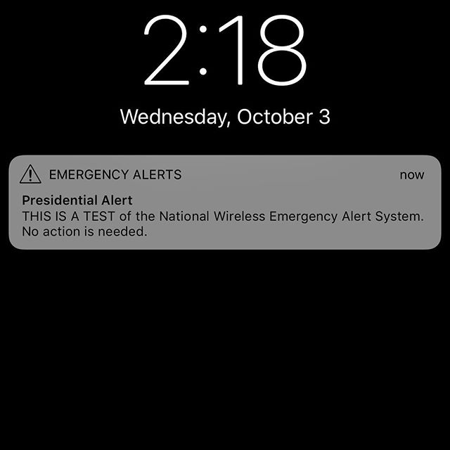 This is only a test. #test #presidentialalertsystem #drumpf #drumpfdotwtf #weirdwednesday #emergency #trump #resist #notmypresident