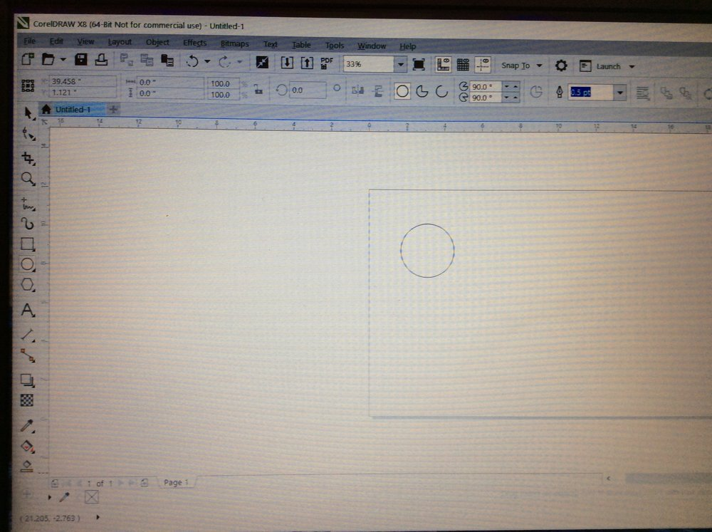 Step 1: Measure the diameter of the 6 inch tall metal container  and make a circle that size for the diameter on coreldraw.