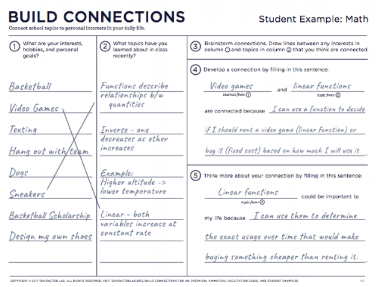 Build Connections is an activity that helps students understand how their existing interests relate to the content they learn in school. In other words, Build Connections taps into students' intrinsic curiosity. What's more, it encourages that curiosity to flourish in class.