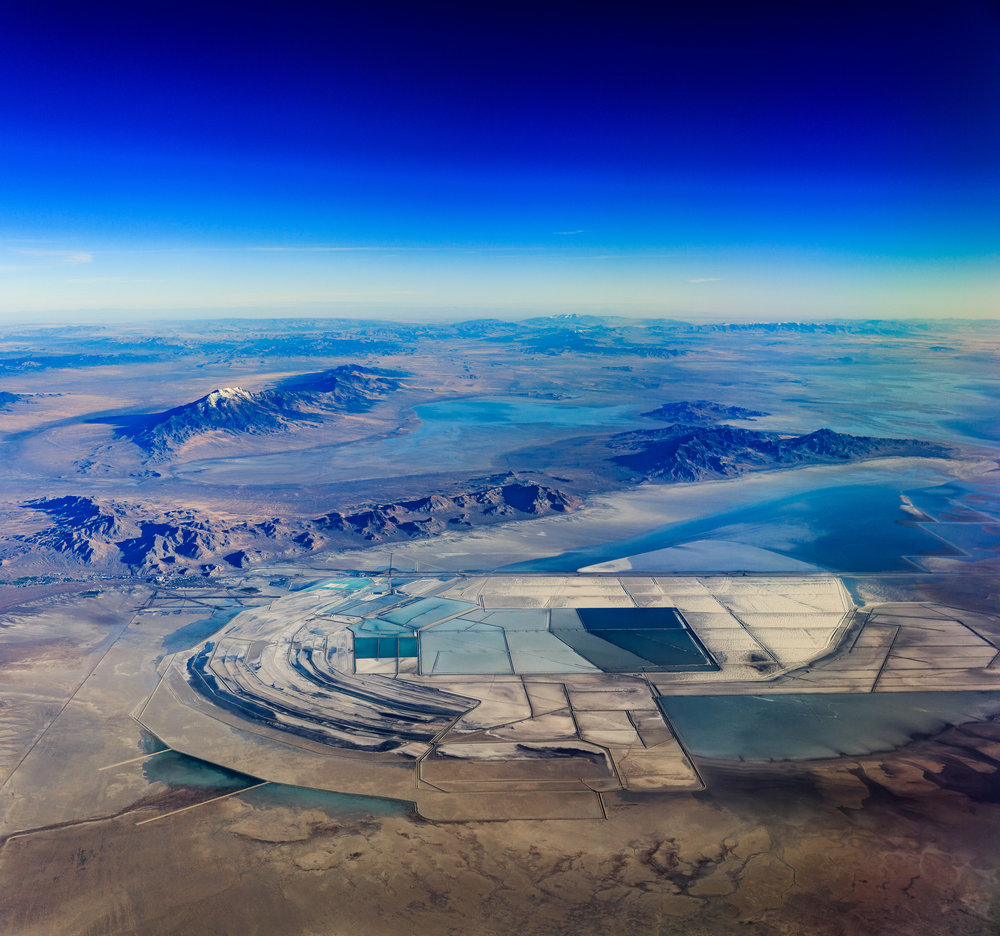 The Great Salt Lake Desert in Utah, one of a series of unique, experimental aerial panoramas taken by the author. Photo: Dennis Dimick.