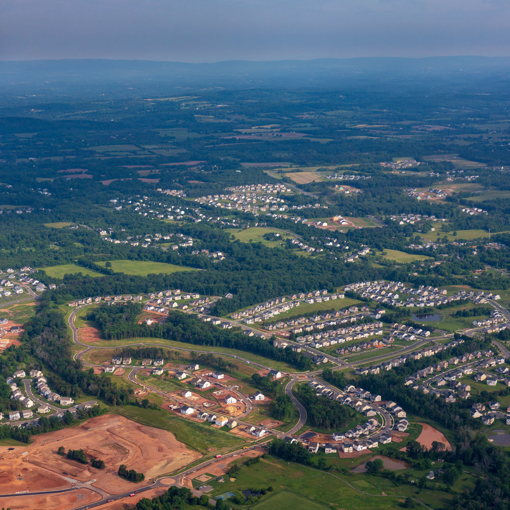 Expanding suburbia at Aldie near Dulles, Virginia
