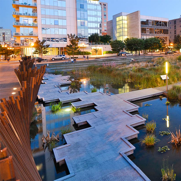 Tanner Springs Park in Portland, Oregon. An example of integrated stormwater management.