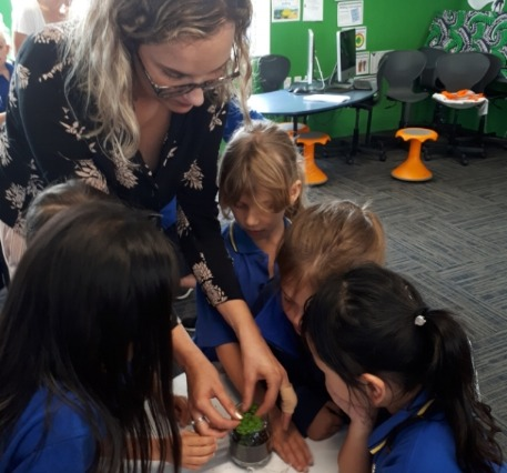 Students experiment with making their own water cycle in a jar, making the connection that water is a limited resource.