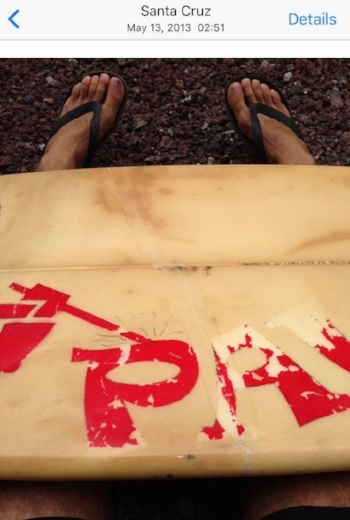 I took this photo of the surfboard Diego lent to me the day I broke it. It shows the big crack across the width of the board. Unable to surf with it, I was unable to join Diego surfing on the day he had the encounter with a shark. Note the date of the photo, one day before Diego was attacked!
