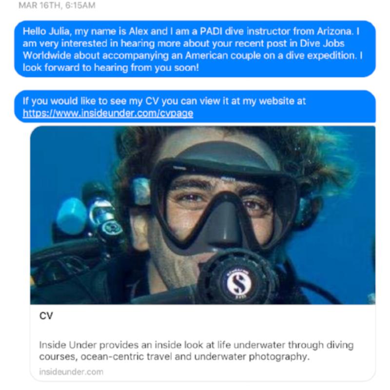 inside under dive travel cv page
