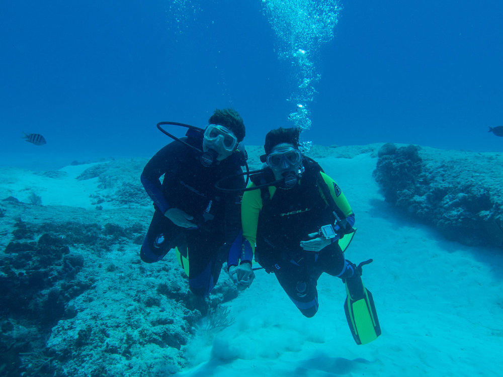Melanie and her wife share their first moments together underwater for the first time in years on the Palancar reef system of Cozumel, Mexico.