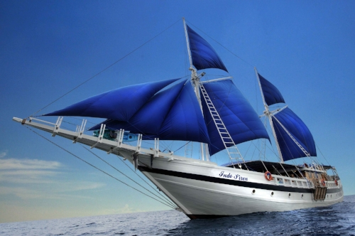 The Indo Siren is a 130 foot pinisi-style sailing yacht equipped for extended diving expeditions.