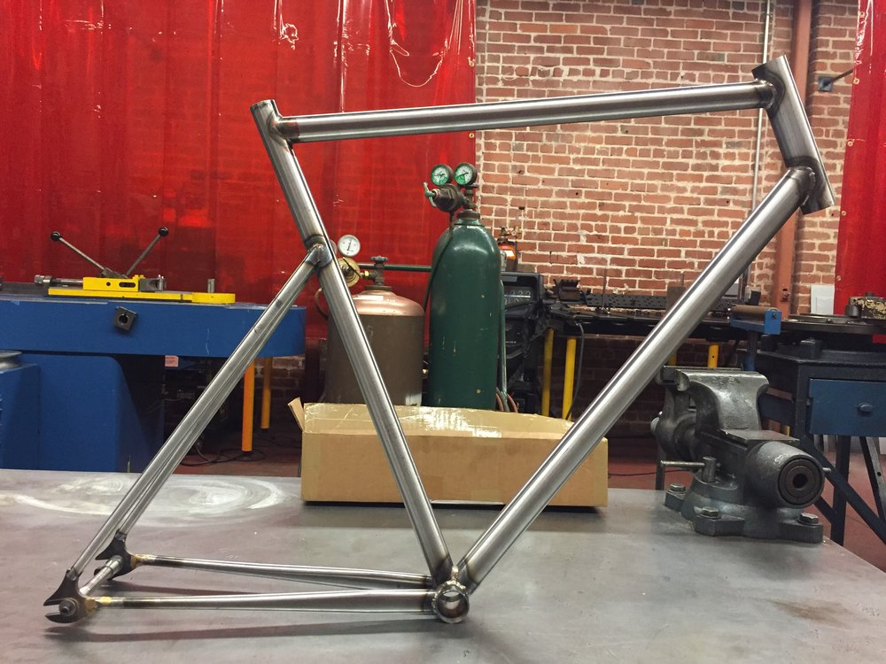 Completely welded frame.