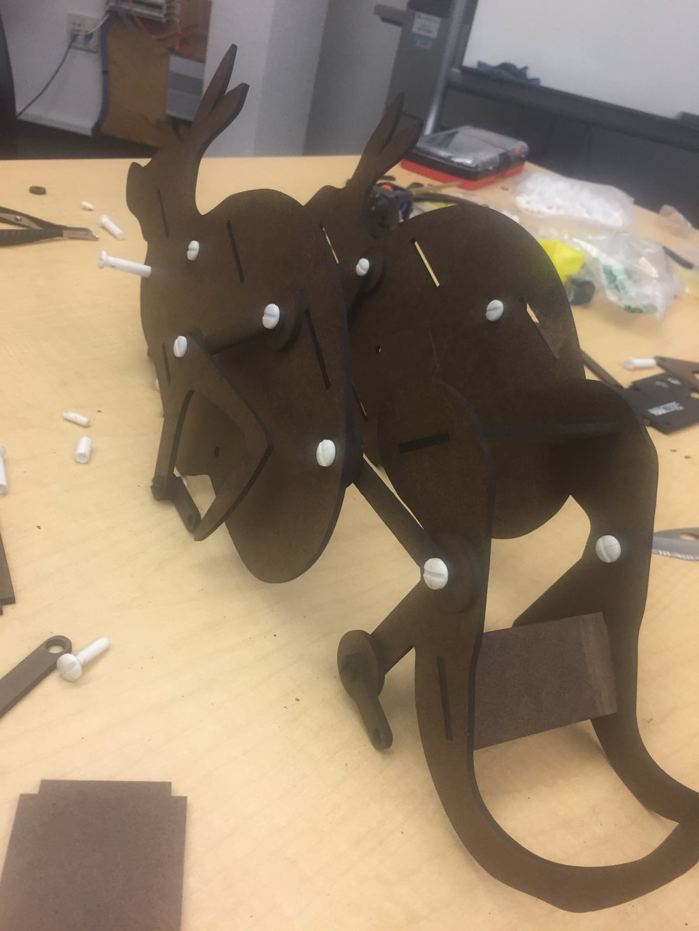 Assembling the kangaroo body. Made from laser cut duron and plastic axle pieces.