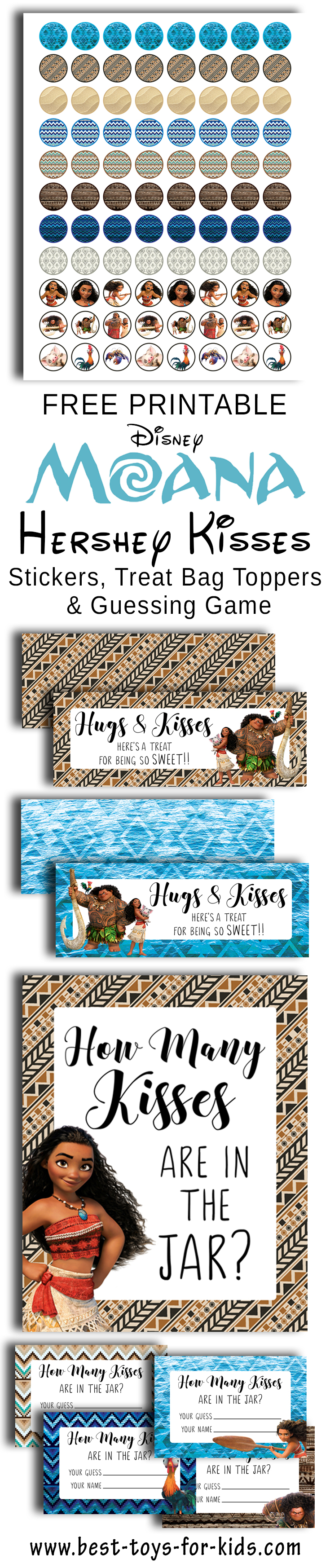 Free Printable Disney Moana Hershey Kiss Stickers, Treat ag Toppers And Guess How Many Kisses In The Jar? Party Game