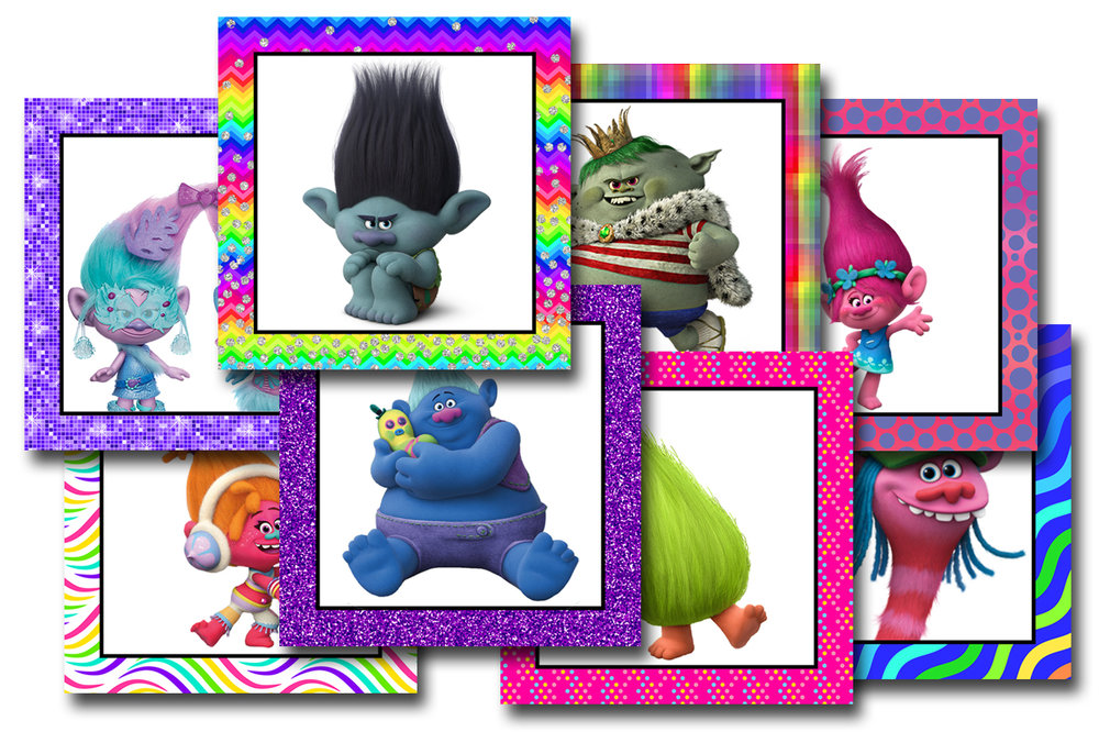 Free Printable Trolls Bingo Calling Cards or Memory Game Markers